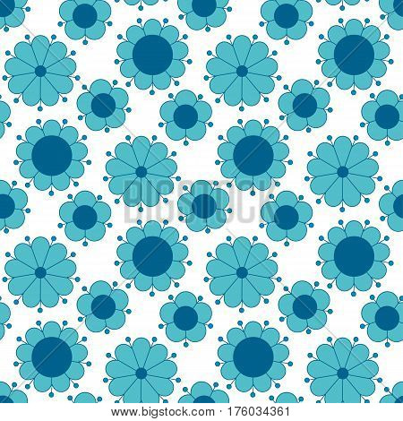 peasant style simple floral pattern on blue color. naive traditional nostalgic flower seamless pattern vector illustration for fabric, background, wrapping paper on white background