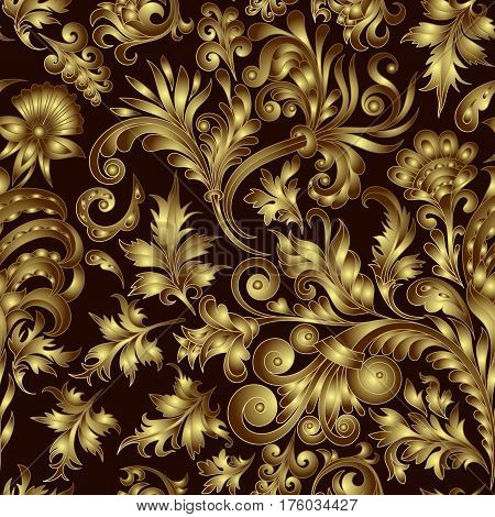 Vector gold pattern on black background with hand drawing fantastic flowers and leaves