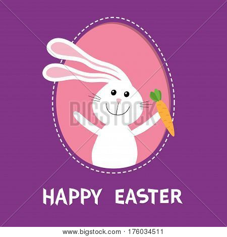 Happy Easter. Bunny rabbit hare holding carrot inside painted egg frame window. Dash line contour. Cute cartoon character. Baby greeting card. Violet background. Flat design. Vector illustration