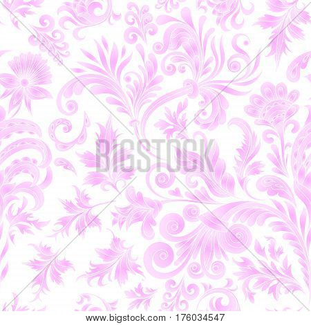 Doodle paisley seamless pattern. Gradient floral elements on white background. Watercolor imitation. Delicate pink. Two colors print