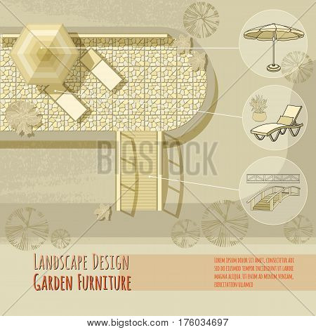 Vector illustration of hand drawn lounge chairs under patio umbrella, bridge, pool and flowers in pot. Garden accessory on beige  background. Landscape design. Summer backyard with outdoor furniture.  Rest area Top view.