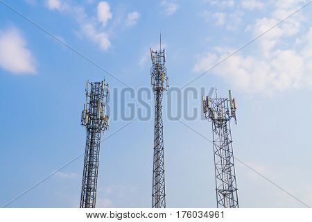 Communication three tower with blue sky background