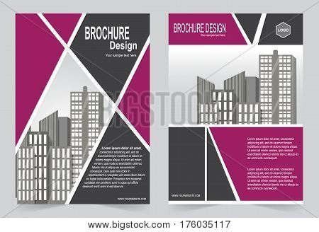 Burgundy color Brochure template flyer design abstract template for annual report magazine poster