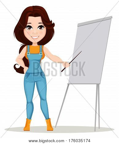 Farmer girl dressed in work jumpsuit. Cute cartoon character standing near board while presentation. Usable for animation and in any farm related project. Dismantled over the layers. Vector