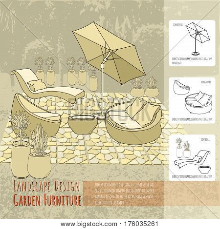 Vector illustration of hand drawn Lounge chairs under patio umbrella, paving and flowers in pot. Garden accessory on beige  background. Landscape design. Summer backyard with outdoor furniture. Rest area.
