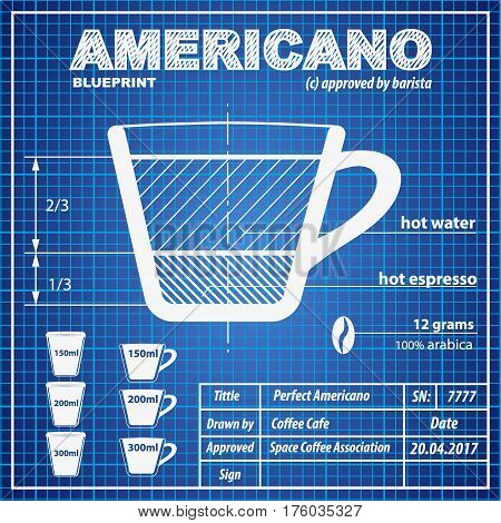 Coffee americano vector photo free trial bigstock coffee americano composition and making scheme in blueprint paper drawing style print background composition of malvernweather Choice Image