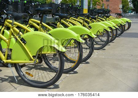 Buenos Aires Argentina - 16 Feb 2017: City parking of the Ecobici rental bikes.