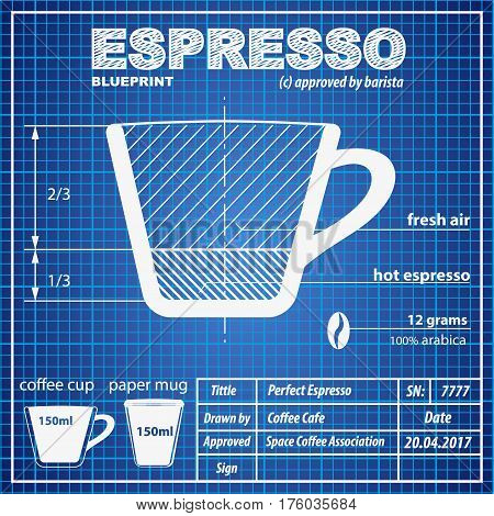 Coffee Espresso composition and making scheme in blueprint paper drawing style. Print background composition of coffee for menu and posters. Creative concept of Modern design. Vector Illustration