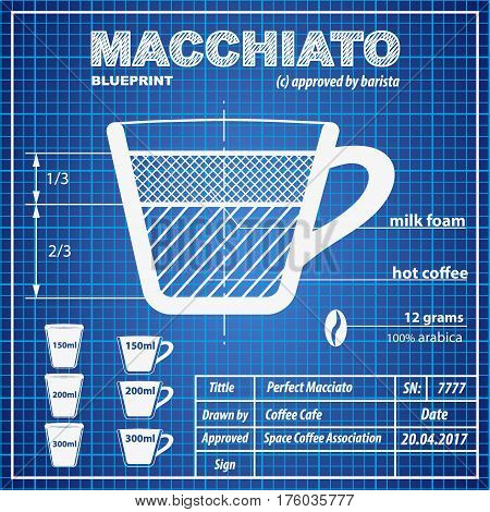 Coffee Macchiato composition and making scheme in blueprint paper drawing style. Print background composition of coffee for menu and posters. Modern design. Vector Illustration