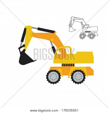 Excavator simple icon with flat colors and line art version