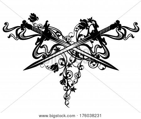 crossed swords among rose flowers - vintage style vector design element