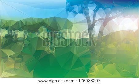 Low poly landscape with gradient color effects applied everything is green and bathed in sunlight.