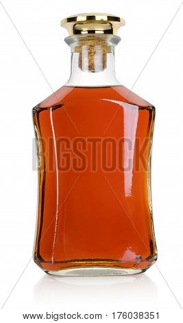 Bottle of brandy isolated on a white background