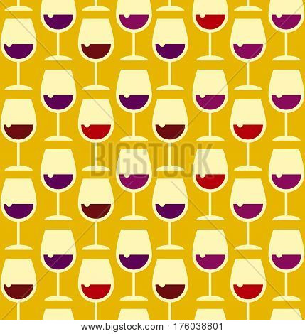 Restaurant wine bar seamless pattern with wine glass. Seamless wineglass background vector illustration