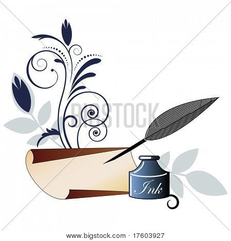 inkwell with quill pen paper and flourish poster