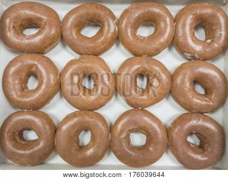 Dozen brown donuts pattern on white box