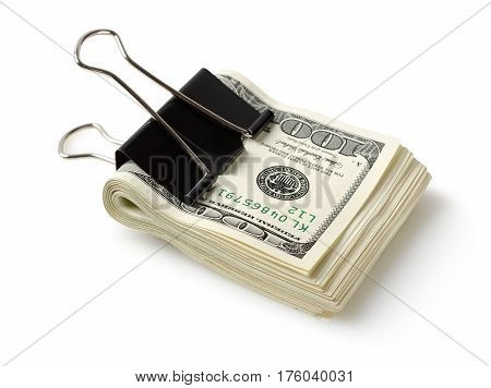 Dollar bills with clip isolated on a white background