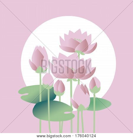 tender elegant white water floral vector illustration for invitation, greeting, poster. water lily, lotus flowers in nature stylized image.