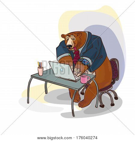 conceptual illustration with funny business character, big bear working
