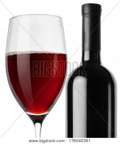 Bottle of red wine and wineglass isolated on a white background