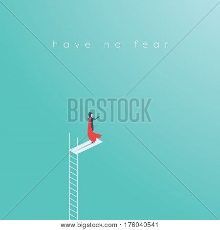 Business woman superhero standing on top of ladder or high swimming pool jump. Woman power symbol in business career. Eps10 vector illustration.