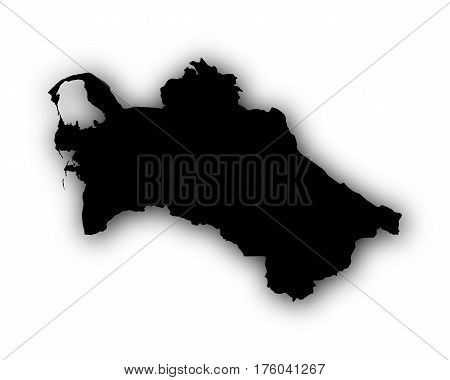 Map Of Turkmenistan With Shadow