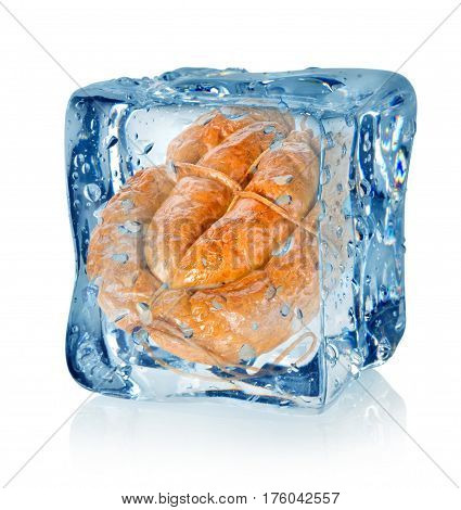 Ice cube and smoked sausage isolated on a white background
