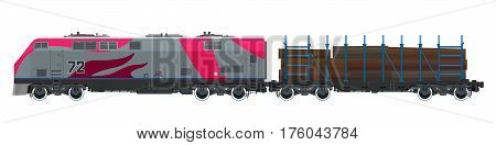 Pink Locomotive with Railway Platform for Timber Transportation, Train, Railway and Cargo Transport, Vector Illustration