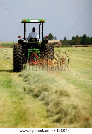 Raking Grass With Tractor