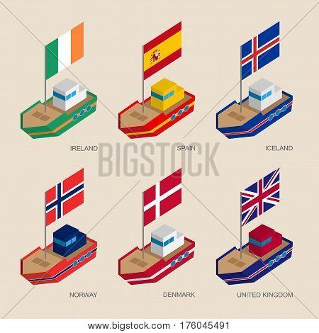 Isometric Ships With Flags: Denmark, Uk, Spain, Norway, Ireland, Iceland
