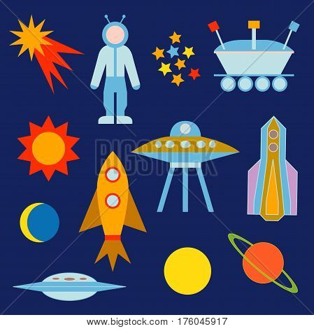 Sun, moon, planets, astronaut, lunar rover, ships, comet. Vector elements for web design, books, games.