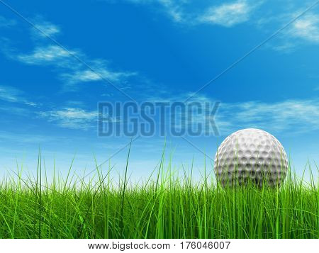 Green, fresh and natural 3D illustration conceptual sport grass over sky background with golf ball at horizon