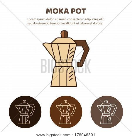 Coffee pot outline icon. Household appliances isolated on colored background. Mocha pot illustration.