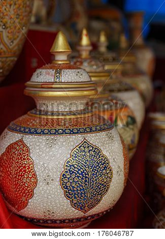 Handcrafted jar with lid, trade fair, India
