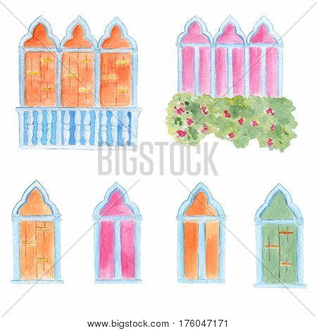 Watercolor hand drawn venetian style colored arched windows set