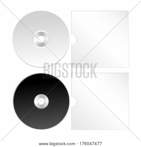 Cd, dvd isolated vector icon. Compact disk template with cover.