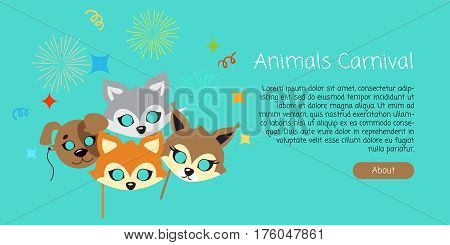 Animal carnival masks of brown dog, cute red fox and squirrel with grey rabbit in cartoon style. Colourful decorations on background with salute streamer bright strips. Party celebration vector banner