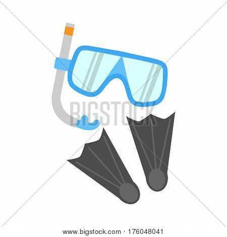 Snorkel, flippers and mask isolated on white background. Blue diving mask, snorkel and pair of grey flippers. Fins, scuba mask and tube. Diving equipment objects. Underwater swimming. Vector