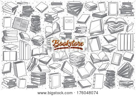 Hand drawn bookstore doodle set background with orange lettering in vector
