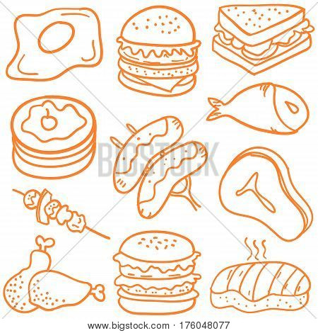 Collection stock of food various doodles vector art