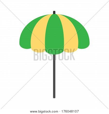 Beach umbrella icon. Beach sunshade. Striped yellow and green beach umbrella isolated on white background. Beach equipment. Vector illustration in flat design.