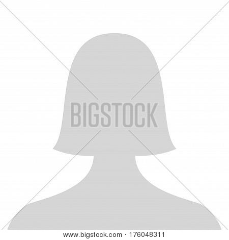 Default female avatar profile picture icon. Grey woman photo placeholder. Vector Illustration