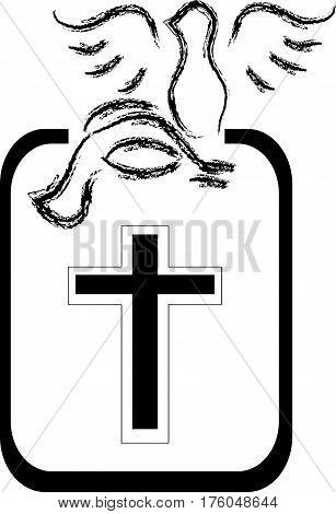 Black doves silhouette with cross on white background. Vector illustartion.