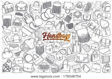 Hand drawn handbag doodle set background with orange lettering in vector