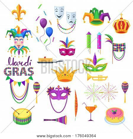 Mardi Gras festival vector collection on white. Carnival set of bright icons and design element in flat style. Masks with feathers, comedy and tragedy, glass with cocktail. Clip art party decorations.