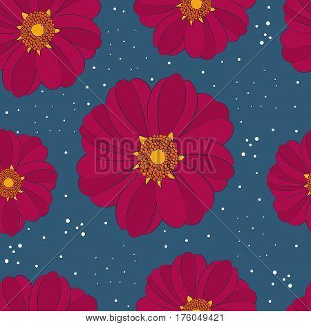 Seamless pattern with rare flower that smells like chocolate. Cosmos atrosanguineus