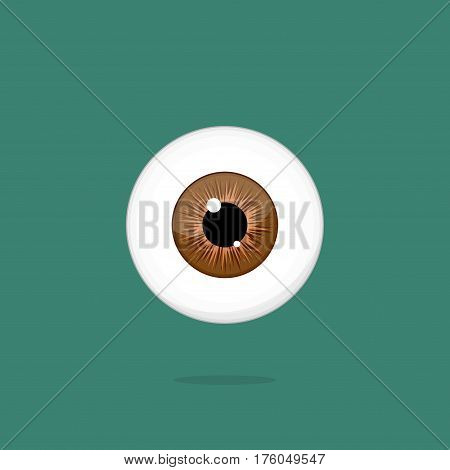 Human brown eye isolated on dark green background. Eyeball iris pupil vector Illustration