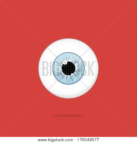 Human light blue eye isolated on red background. Eyeball iris pupil vector Illustration