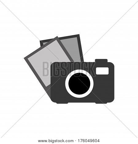 grayscale camera with picture icon, vector illustraction design