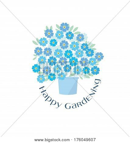 blue tender forget-me-not  flowers in retro style. elegant naive floral design element for invitation, card, poster, greetings, wedding.